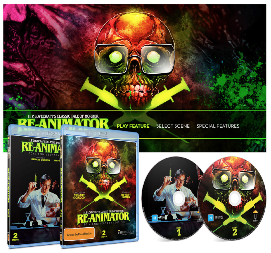 simonsherry :     Following on from my post on the artwork for the Australian edition of Re-Animator I illustrated and designed, I thought I'd give interested folk a sneak peak at the package. The 2 disc JB Hi-Fi exclusive comes with the unrated theatrical and 'integral' cuts of the film. The reversible slick features my favourite of the original posters, and the disc 2 menu is an animated version of the new art (kudos to the mighty Garth Jones and Neil Cross for added effects and music).  Preorders are available here: https://www.jbhifi.com.au/movies-tv-shows/movies-tv-shows-on-sale/horror/re-animator-30th-anniversary-edition/684734/