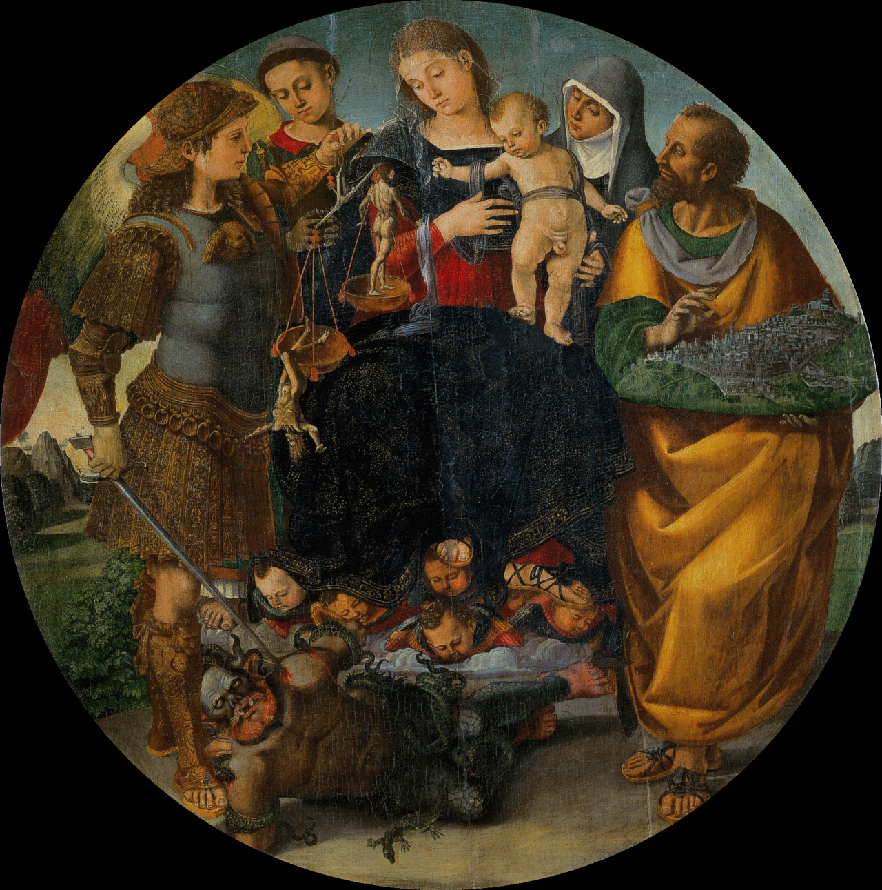 necspenecmetu :     Luca Signorelli, Madonna and Child with Saints Michael the Archangel, Vincent of Saragozza, Margaret of Cortona, and Mark, c. 1510-2