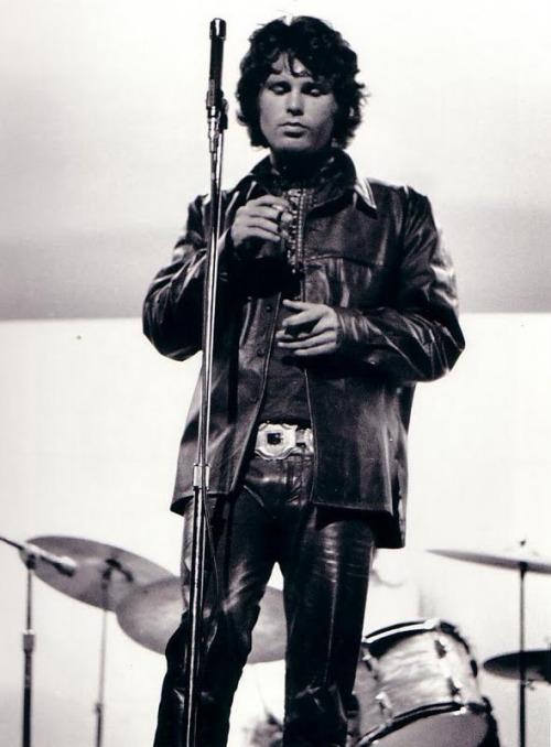 theswinginsixties :     The Doors: Jim Morrison on stage at the Kennedy Municipal Stadium, Bridgeport, 1968.