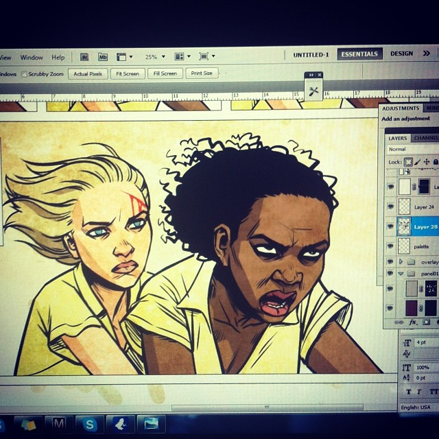 kateemoon :     Comic-ing on a school night.. #art #comic #hbvb #women #drawing     Kate is KILLING it, Home Brew Vampire Bullets style!
