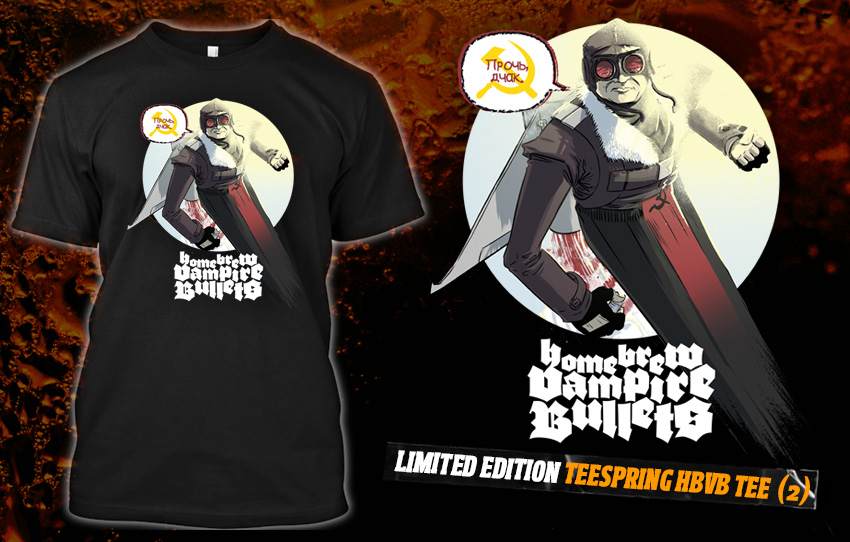 hbvbanthology :     Inspired by the interdimensional lunacy of RYAN K LINDSAY and LOUIE JOYCE's Home Brew Vampire Bullets: ZERO tale 'The Many Harold Holts of Space & Time',  this tee  showcases Louie's stunningly realised rendition of 'Jet Pack Holt'!   $24.95 gets you this foxy stun gun of a shirt, shipped once we hit our target of thirty sales.   We've got two weeks to achieve that goal, so spread the word (and grab a copy of ZERO for a meagre TWO Aussie bucks at the following links if you haven't already)!