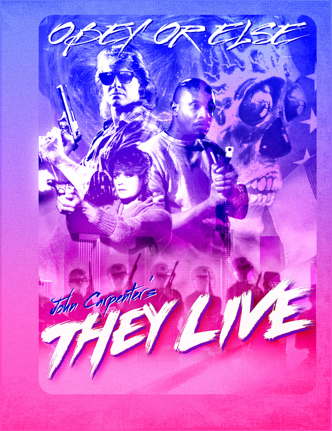Unadorned, none more neon first pass at what eventually became the back of Umbrella Entertainment's Blu-Ray release of 'THEY LIVE', out in October.