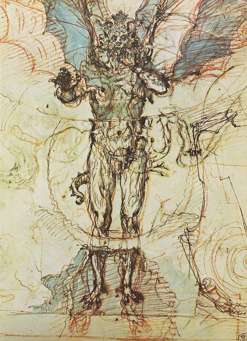 Sketch of Lucifer for  The Divine Comedy  , Ludovico Cardi (aka Cigoli)  ca. 1590