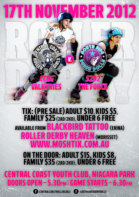 CCRG bout poster, final. Get yer arse there, Central Coast and surrounds.  on Flickr.   Bout poster design for @CCRGAU. Central Coast habitating individuals should make it their business to BE there. #RollerDerby