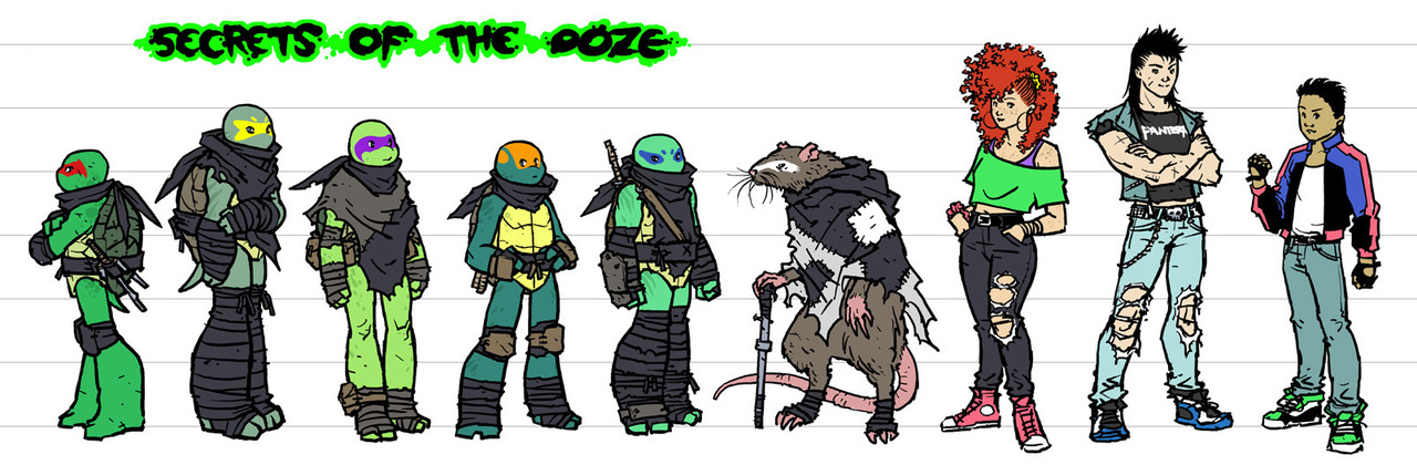 mooncalfe :     character line-up for my TMNT fan-comic!! i've been working on these for months, chipping away at them little by little whenever i could make time. sorry for the long horizontal shape being tough to display. :\   here's the first SOTO drawing  if anyone missed it  and  here's the Foot!   TMNT is copyright Viacom, and my fan-comic is not affiliated with them, Nickelodeon, or IDW.