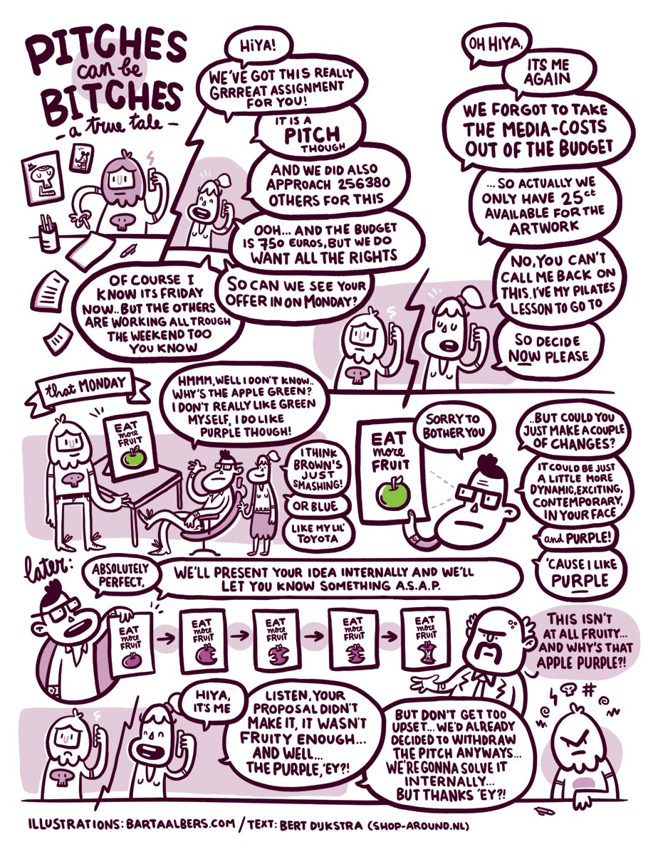 bartaalbers :      Pitches can be Bitches.  Illustrations by  Bart Aalbers  / Original text by Bert Dijkstra ( Shop Around ) / Translation by Dagmar Veenstra
