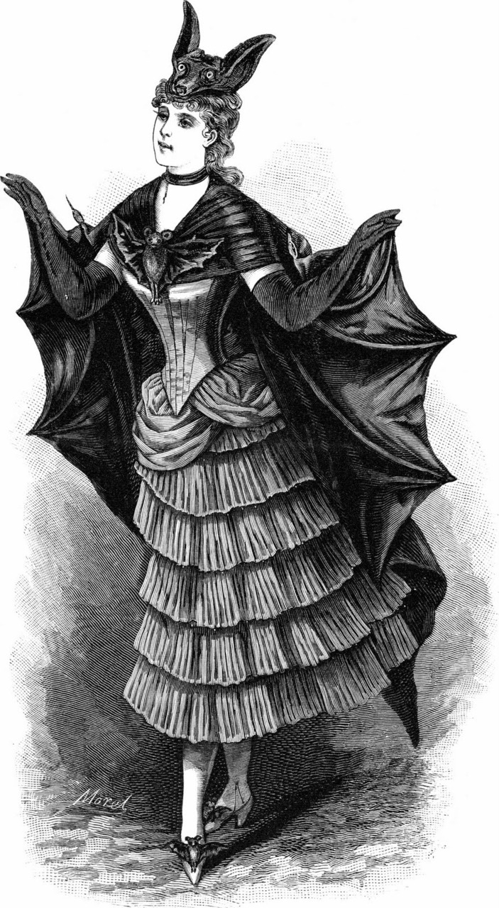 DC Batgirl reboot: APPROVED. #comics    vintagegal :     Engraved French fashion plate, bat costume for fancy-dress ball, 1887