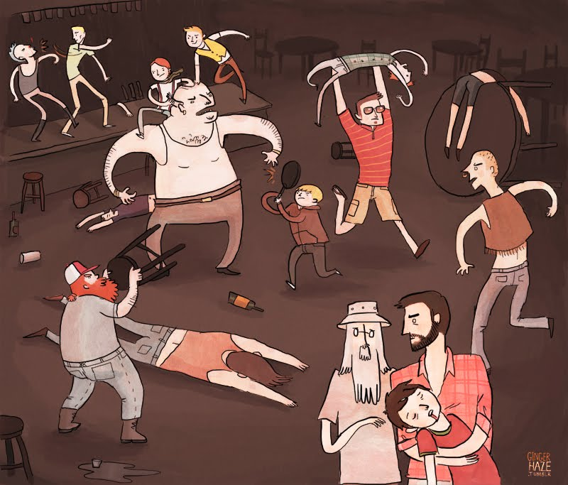The Broship fight some troublemakers at the Moria Bar & Grill.    Via.