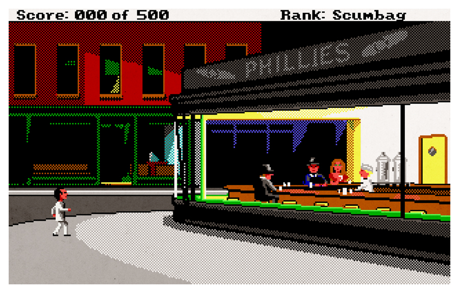 aledlewis :      Just Another Sleazy Joint    One of my pieces for the  iam8bit  art show! Signed limited edition of 60.   Mash-up of: Leisure Suit Larry Goes Looking for Love (in Several Wrong Places) (1988) - and Edward Hopper's 'Nighthawks'.
