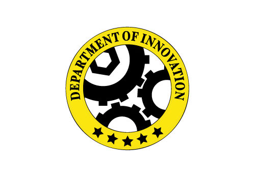 "Via.     ""The Department of Innovation is about people and ideas that likely will shape the way we will live one day.""      — RANDY RIELAND,   Look at the three cogs. In that arrangement, they can't turn.     Five star innovation."