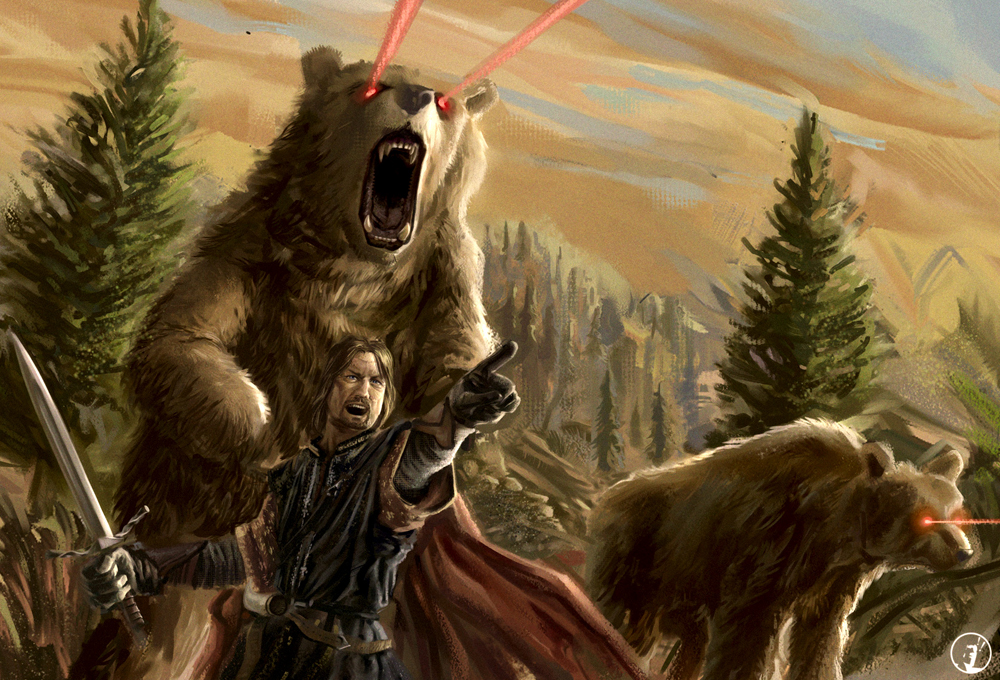 justinrampage :     There is only one true way to get into Mordor… That would be with Boromir leading an army of blood thirsty laser eyed bears! Rad Lord of the Rings digital painting by Roberto Gomes. He was inspired by this  .gif animation .     How to get into Mordor   by   Roberto Gomes   (  Twitter  )