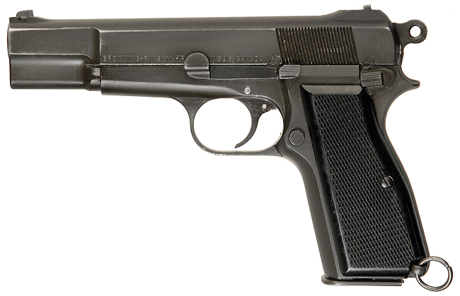 """livefastdie :     This is the Browning Hi-power that Indiana uses in the bar shootout in the film. Typically Indy uses a Smith & Wesson """"Hand Ejector"""" revolver."""
