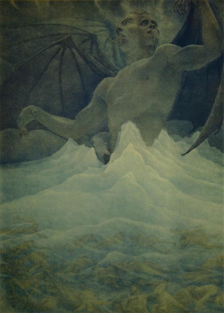 2headedsnake :      dadakinder.livejournal.com      Amos Nattini, Dante's Satan at the frozen lake of Cocytus, 1923.