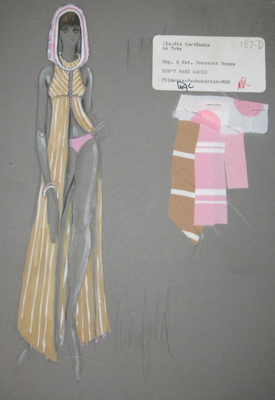 sadburro: Costume sketch for Claudia Cardinale from 1967 film Don't Make Waves Illustrator: Donfeld