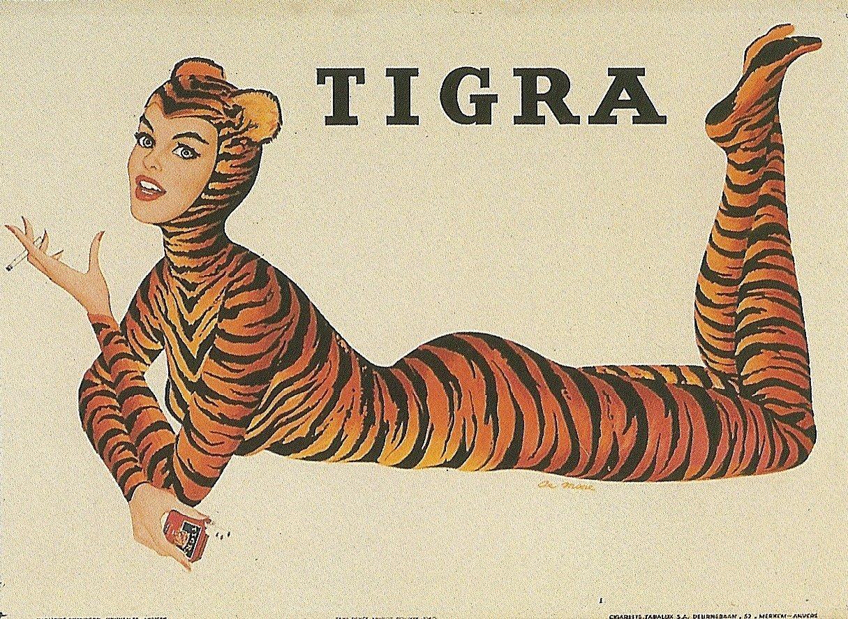 vintagegal :      sadburro :     Belgian Cigarette Package (1950)     art by Al Moore