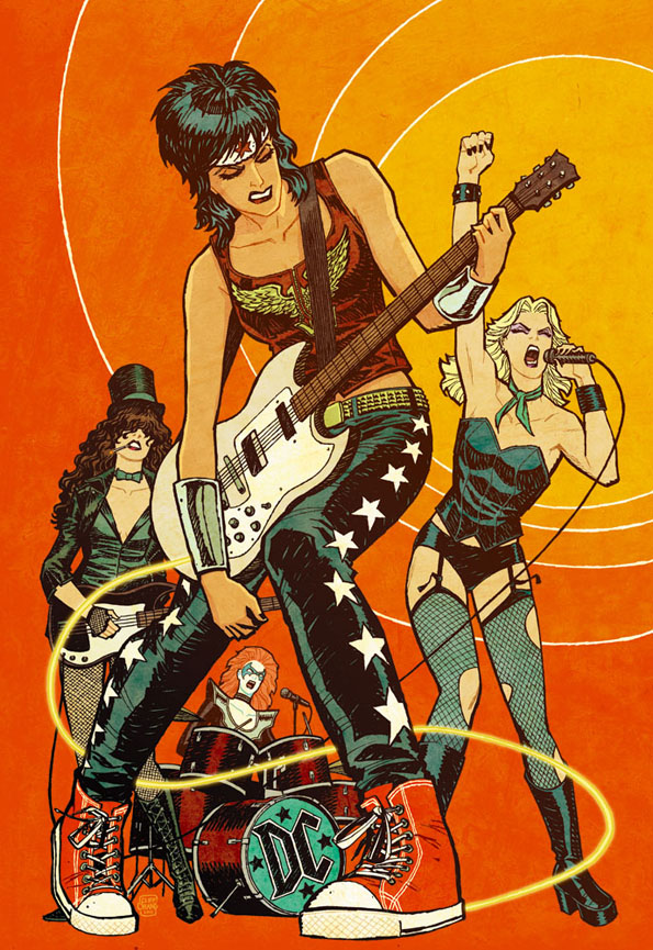"""danhacker :      """"Don't give a damn 'bout my bad reputation…""""     Cliff Chiang    Cliff Chiang's vision of a DC all-girl rock band featuring Wonder Woman, Zatanna, Black Canary and Batgirl is brilliant!"""