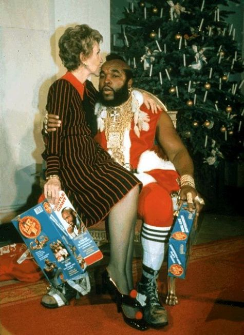 awesomepeoplehangingouttogether :     Nancy Reagan and Mr. T   (submitted by  kidrocket  and rsethib)