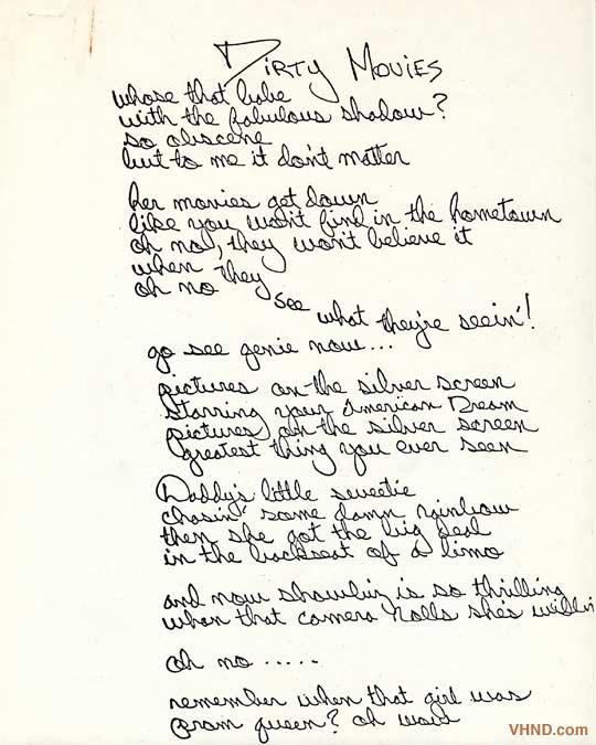 Diamond Dave's handwritten 'Fair Warning' lyric sheets.