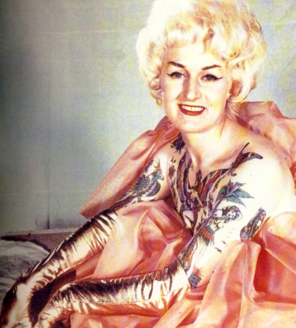 "clembastow :      Bev Nicholas , aka ""Cindy Ray"",  Australia's tattooed lady , ""the classy lassie with the tattooed chassis"" and ""the girl who put the oo in tattoo""."