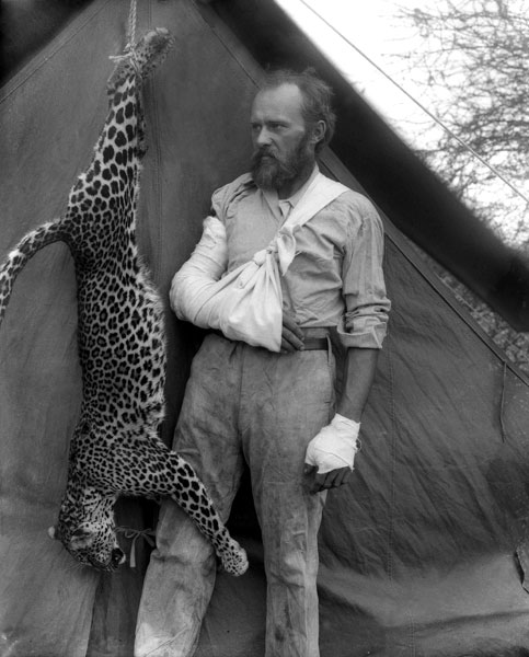"ericnelson :     Famed taxidermist  Carl Akeley  poses in 1896 with the leopard he killed with his bare hands. ""They ended up fighting it out to the death…literally, hand-to-hand combat with a leopard,"" says Akeley's biographer, Jay Kirk."