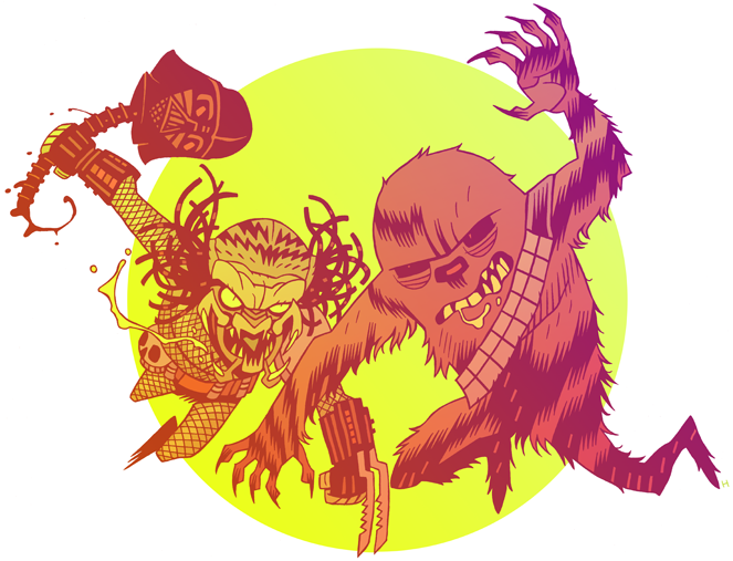 justinrampage :     Two colossal film beasts meet on the battlefield in Dan Hipp's amazing new Star Wars / Predator mash up. Lord Vader wasn't very  head strong…    Related Rampages :    Aliens    |   IT'S A TRAP!   |   Boba Fett   (  More  )     PREDATOR VS WOOKIEE   by   Dan Hipp   /   mrhipp   (  Flickr  ) (  Tumblr  )   Via:   mrhipp