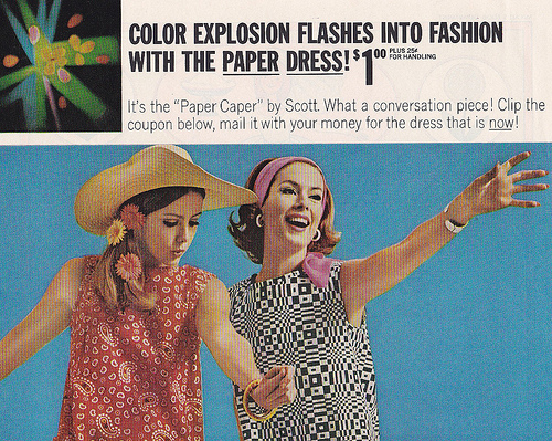 theswingingsixties :     Scott Paper Company advertisment for paper dresses, 1960s.