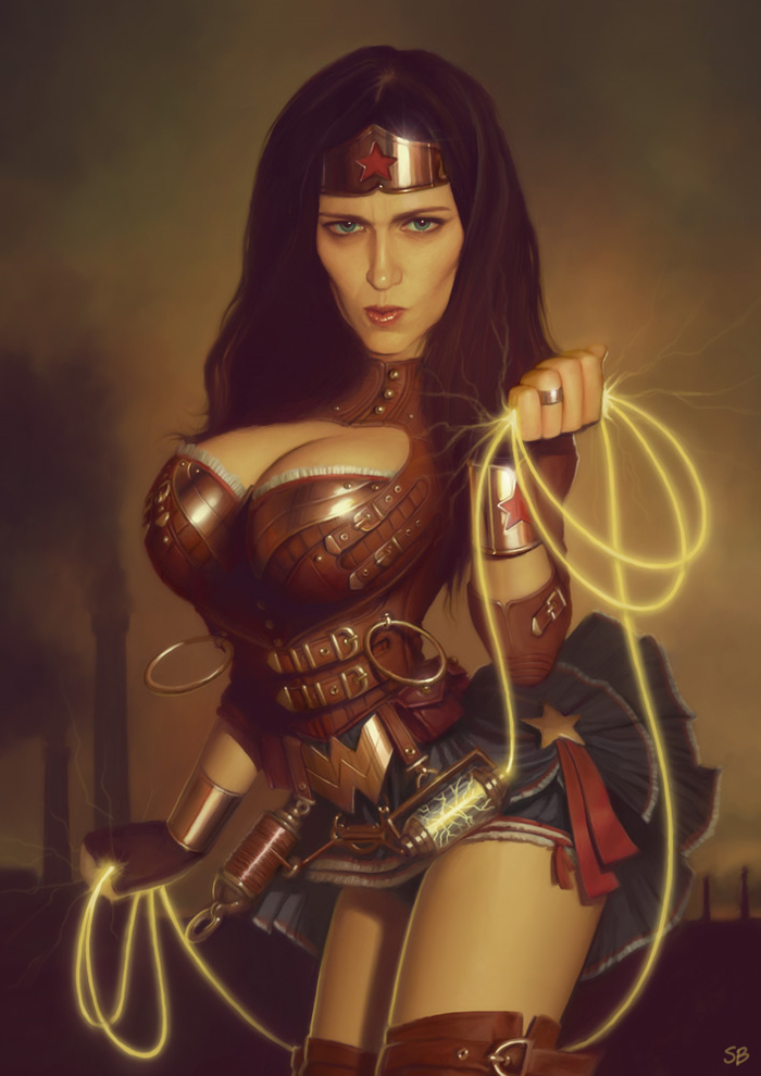 """justinrampage :     Wonder Woman got a Steampunk redesign by   Serge Birault  . It is complete with a custom """"tesla lasso"""" to catch those bad guys in style.     Steampunk Wonder Woman   by   Serge Birault   /   PapaNinja   (  Store  ) (  deviantART  )"""