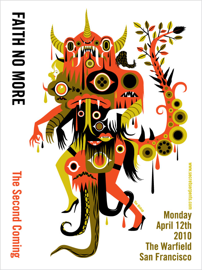 Tim Biskup Faith No More poster   Via http://superpunch.blogspot.com/2010/04/faith-no-more-concert-posters.html