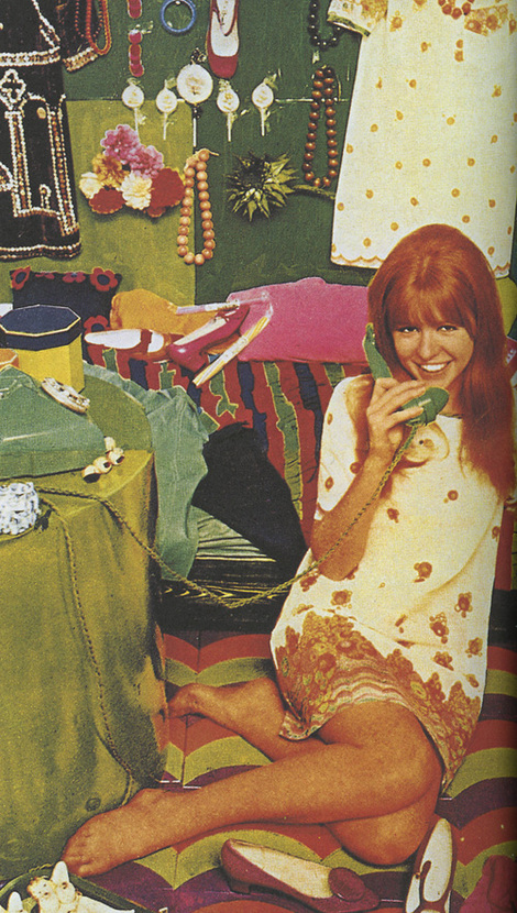 theswingingsixties :     Jane Asher modelling a paper dress designed by Ossie Clark and Celia Birtwell, 1960s.