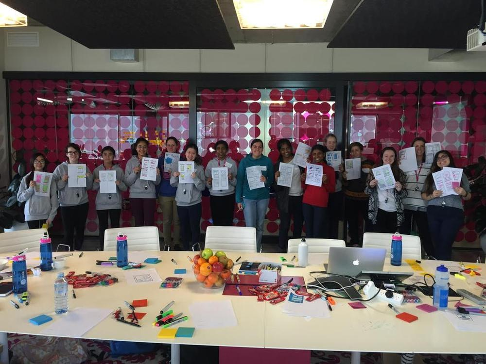 Camp SEEKers with their paper prototypes