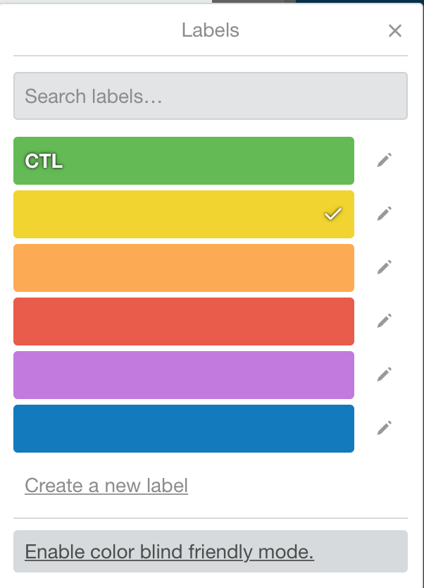 Trello colour blind mode