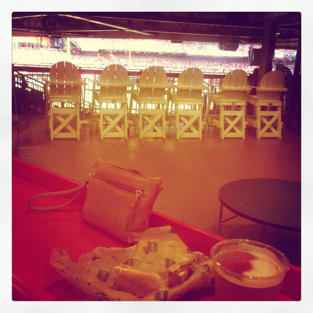 Beer and Hotdog at Bowtie Bar in Busch Stadium