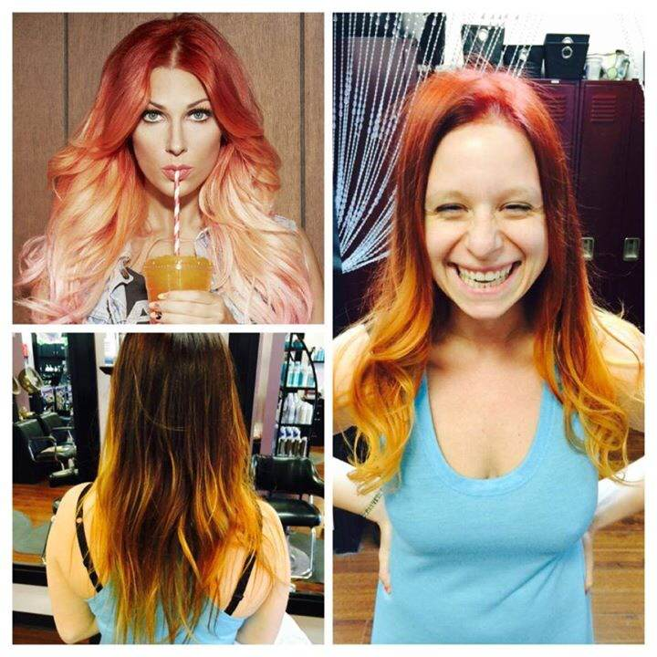 Top Left:  Hair Inspiration by Bonnie McKee     Bottom Left and Right:  Beginning Hair Color