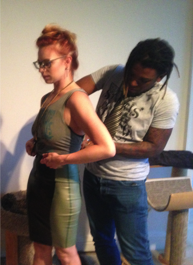 Dwight Carter styling geminijunemoon founder, June Ann D'Angelo, for a fashion event.