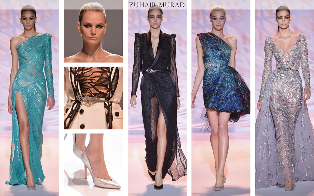 Zuhair Murad: The intricate geometrical designs in this collection were inspired by the architectural evolution in Beirut, Lebanon; the home base of the designer Zuhair Murad. Zuhair Murad is known for creating garments with classic cocktail and gala silhouettes. The architectural interpretation comes to light in the geometric embellishments.