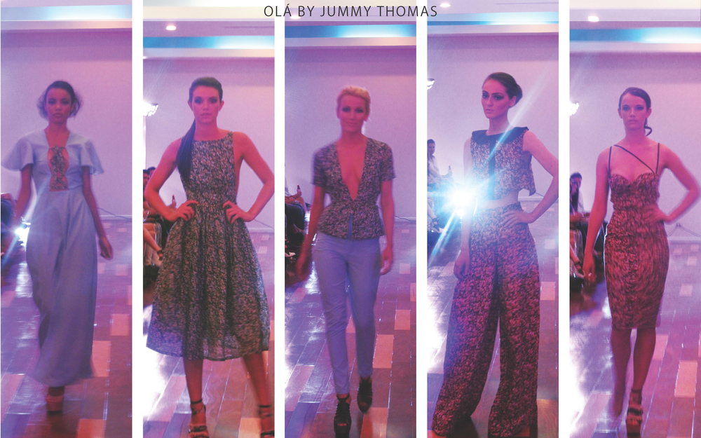 Olá: Jummy Thomas's lineup included spring silhouettes that showed just the right amount of skin. A ditzy flower print and periwinkle blue was carried throughout the collection.