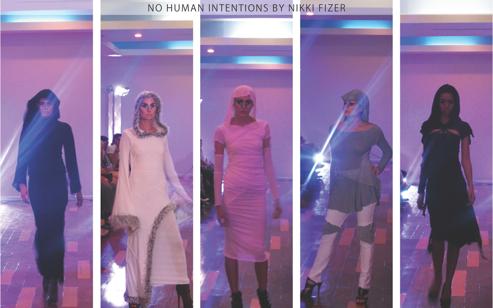 No Human Intentions: Nikki Fizer's collection was filled with long silhouetted garments with juxtaposing seams. The hooded garments and gray-scale color scheme gave the collection a witchy vibe.