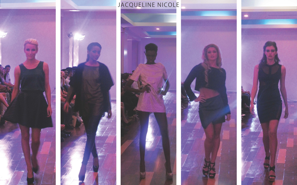 Jacqueline Nicole: This collection included trendy silhouettes such as the circle skirt and the cutout body- con dress. Garments also included mixed textures and an earthy & metallic color palette.