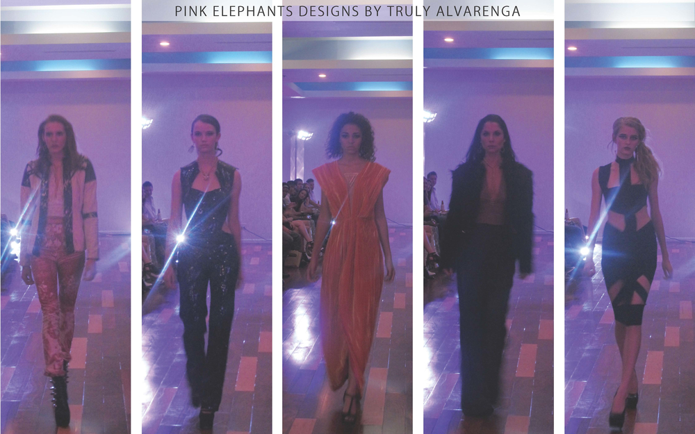 Pink Elephants: Truly Alvarenga's designs included a varied use of fabric. Silhouettes also varied widely. This glamorous punk-rock collection ranged from a sequin jumpsuit to a orange velvet gown.