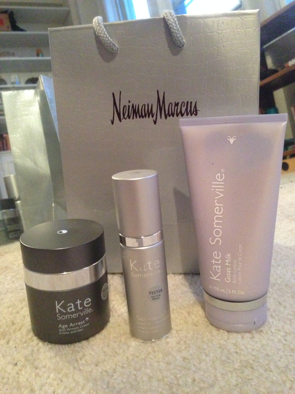 When I opened up my gift, I was pleasantly surprised! Normally you win a pen or a sticker...not at Neiman Marcus...you win Kate Somerville! I've already started using the products and LOVE them!