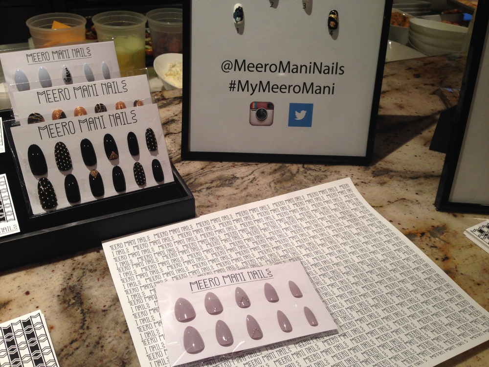 I kinda fell in love with Meero Mani Nails! You can get sets in 2 different sizes and then they adhere to your nail by a little sticky tab. So, it is the perfect accessory to throw on with any outfit without committing to acrylics. I can't wait to use these when styling shoots!