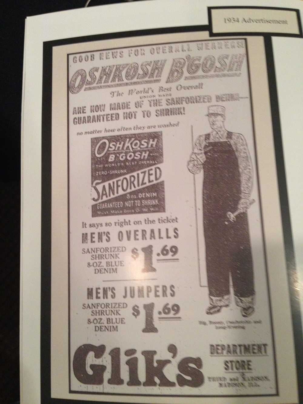 Here is one of their advertisements from 1934 that they had on display!