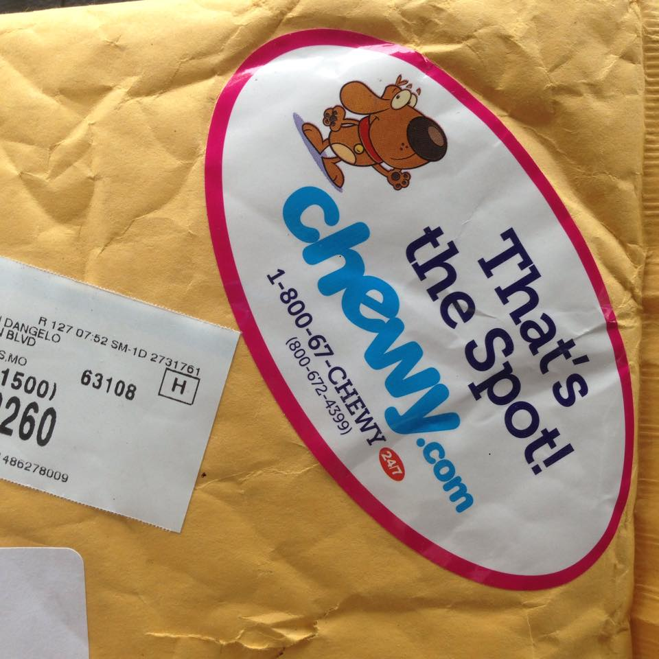 my friend that feeds me was rather relieved when she received this package last week from chewy.com. anytime i see this sticker on a package, i get excited, too, because i know it's something for me! at the time i had no idea, but i think it had something to do with the fact that she was taking me to the vet the next day. she had know idea that i knew, but we can totally understand human talk and i totally heard her make the appointment. click the image below and find out all the cool stuff your friends can get you, too!