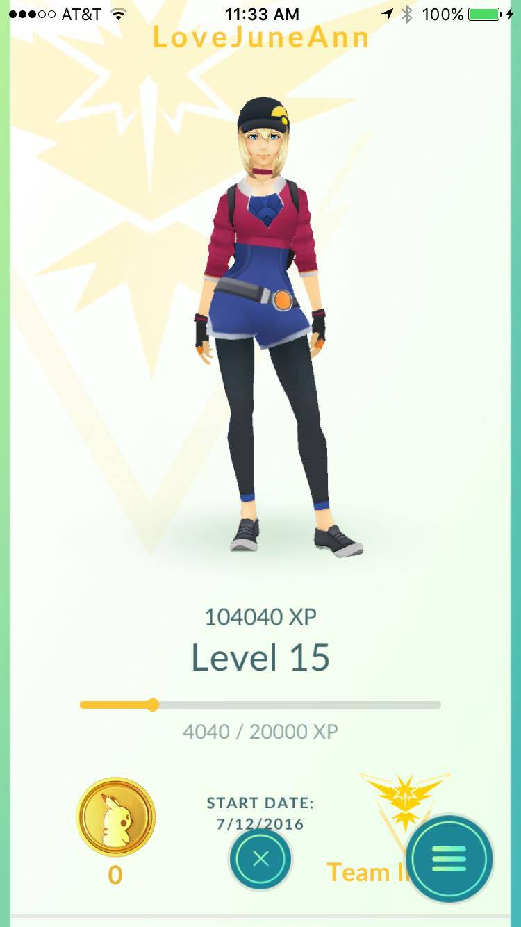 started 7.12.16 and have made it to Level 15. i decided to go with Team Instinct only for the reason that one of my friends was on the same team. i really feel that Pokemon Go should team up with some different brands (like my faves, Patagonia or Free People) and offer wardrobe upgrades. i would love for my lady to be wearing an awesome bison hat from Patagonia!