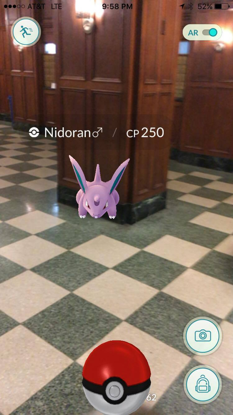 found this male Nidoran in the lobby of my apartment. i guess these are the only pokemon with gender? i'm really interested in the mating patterns of this particular species...haha.