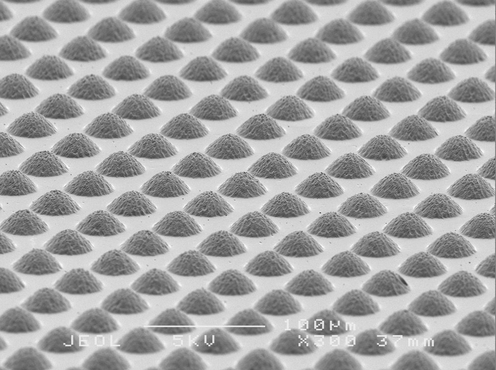 SEM image of the surface of an injection molded part with a micro-pillar texture.