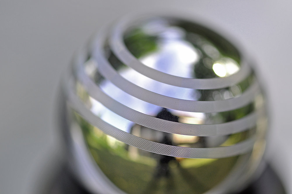 Textured rings on a 20 mm diameter hardmetal ball.