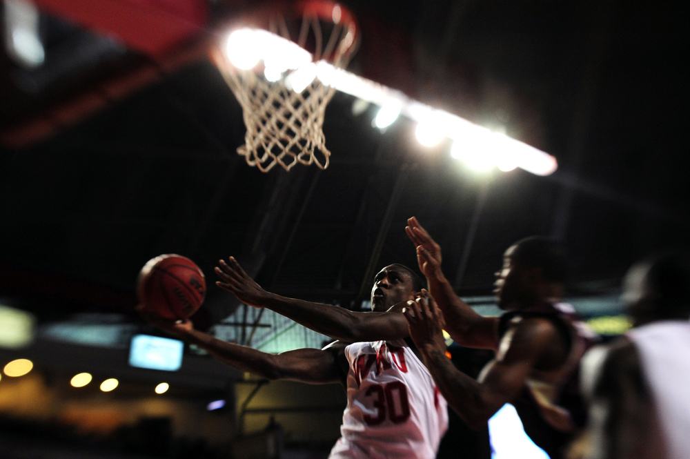 Western Kentucky University senior forward Steffphon Pettigrew lays up the ball during the first half of Western's game against Louisiana-Monroe. Western won 81-61.