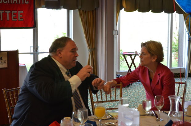 Senator Elizabeth Warren speaks with former Mass Democratic Party Chairman John Walsh