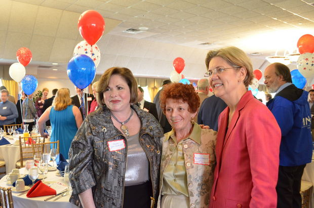 Former State Senator Gale Candaras, Mary Gail Cokkinias, and Senator Elizabeth Warren pose for a photo